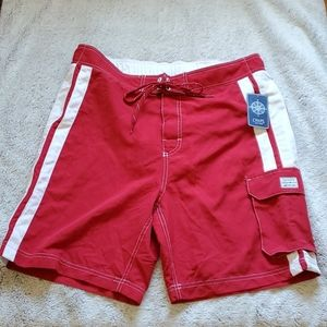NWT mens Chaps swim trunks size large red white